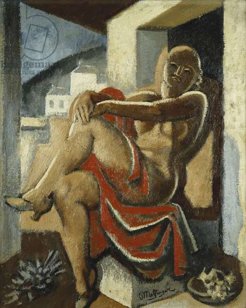 Draped Nude in Front of a View; Nu Drape au Paysage, (oil on canvas)