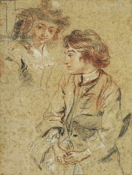 A Seated Young Man, three-quarter length, holding his Hat, c.1717 (black, red and white chalk on paper)
