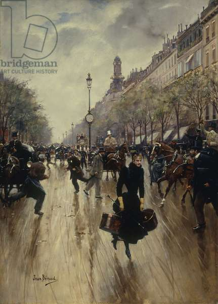 Four PM at the Carrefour Drouot and the Grand Boulevard, c.1895 (oil on panel)