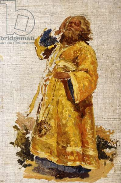Study of the Deacon for the painting 'The Religious Procession in the Province of Kursk' (1880-3),  (oil on canvas)