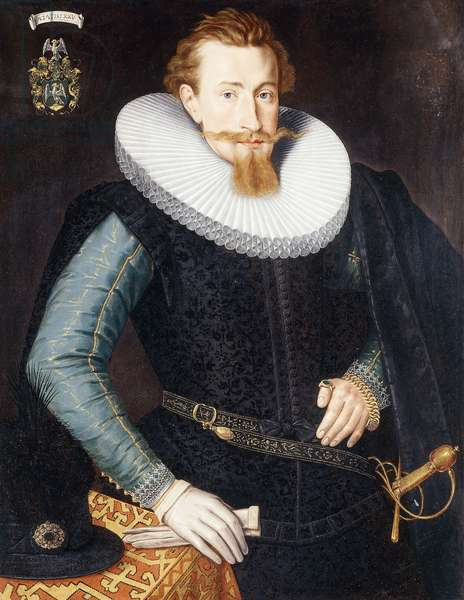 Portrait of a Gentleman, aged twenty-five, three- quarter length, in a black doublet with turquoise and gold sleeves and a white ruff, by a draped table,  (oil on panel)
