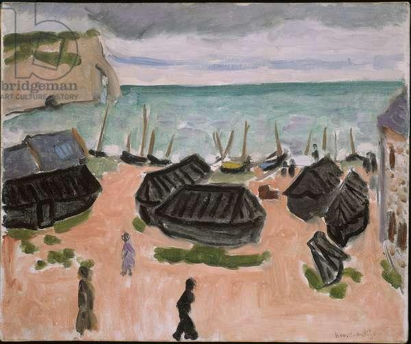 The Boat Huts at Etretat, 1920 (oil on artist's board)