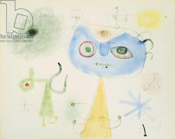 People, Stars, 1947 (w/c, pastel & charcoal on paper)