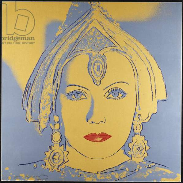 The Star (Greta Garbo) 1981 (screenprint In gold, blue-grey, blue & red with diamond dust)