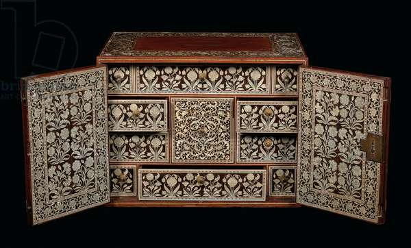 Mughal cabinet, Gujarat or Sindh, Western India (ivory-inlaid wood)