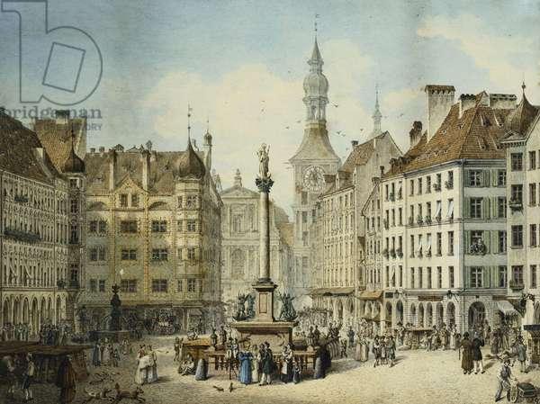 The Schrannenplatz, Munich, 1835 (pencil & w/c on card)