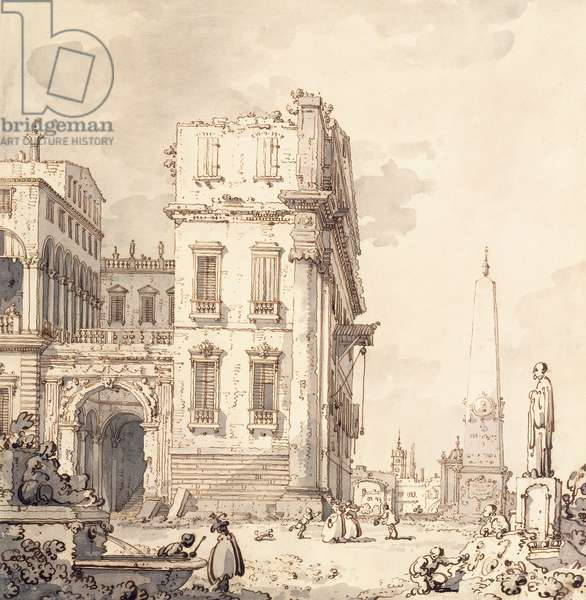 A capriccio of a Venetian Palace Overlooking a Piazza with an Obelisk,  (black chalk, pen and brown ink, grey wash)