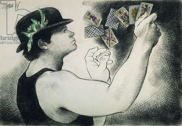 The Fortune Teller No, 1987 (pastel and pencil on paper)