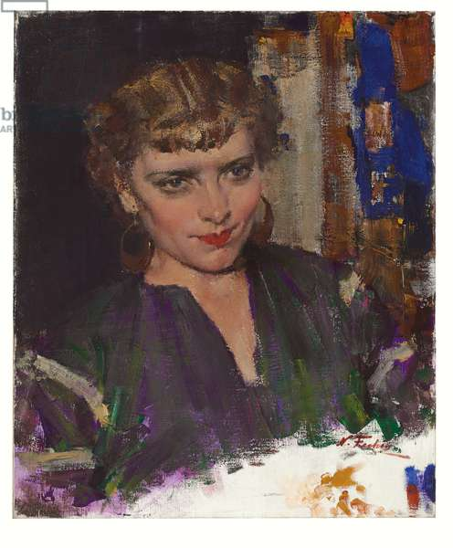 Portrait of Marucia, a Russian singer, late 1930s - early 1940s (oil on canvas)