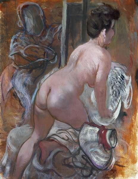 In the Studio, (oil on paper)