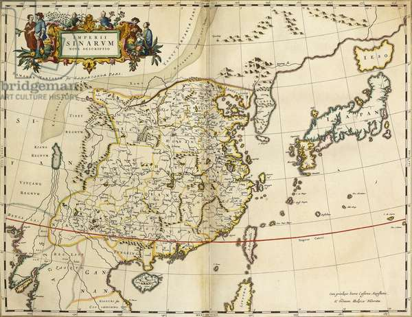 Map of China, from 'Atlas Maior Sive Cosmographia Blaviana', 1662 (hand-coloured engraving)