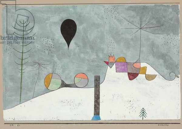 Winter Picture; Winterbild, 1930 (gouache, w/c, pen, black ink, silver foil collage on pap)