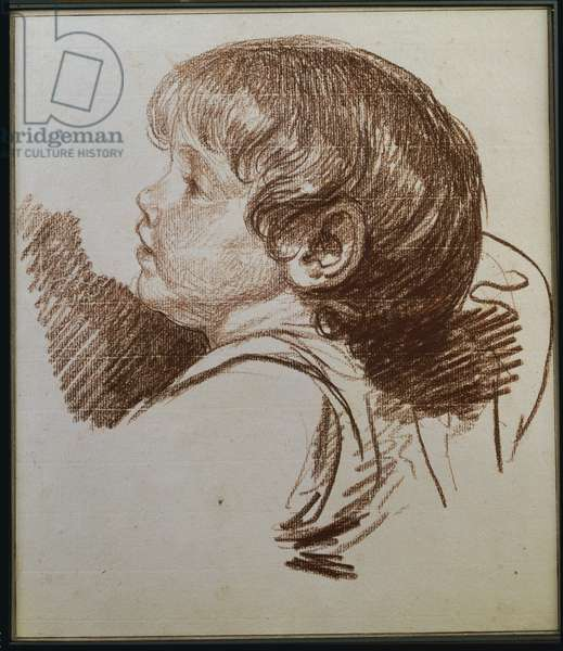 Head of a boy in profile to the ledt (red chalk on paper)