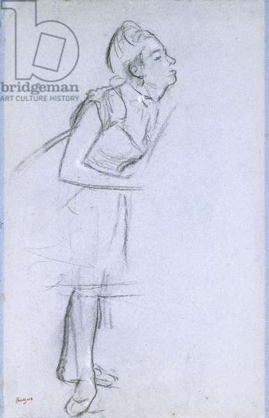 Profile of a Dancer,  (charcoal with white chalk on blue paper)