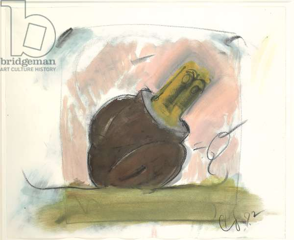 Sculpture in the form of a three-way plug, sited, 1972 (charcoal, graphite, wax crayon & w/c on paper)