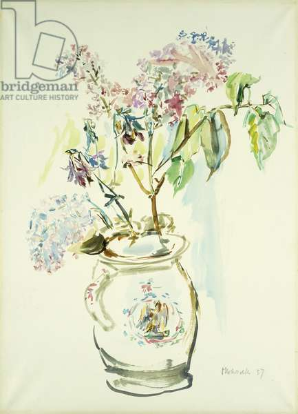 Blumenvase, 1957 (watercolour on paper)
