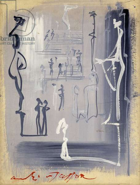 The Museum; Au Musee, c.1957 (gouache on paper laid on canvas)