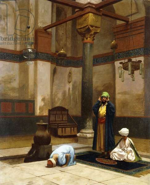 Three People Praying in the Corner Mosque; Trois Personnages Priant dans un Coin de Mosquee,  (oil on canvas on board)