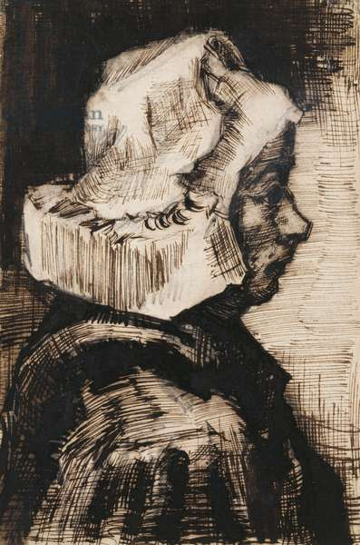 Head of a Peasant Woman, Facing Right, 1884 (pen and black ink, brush and gray wash over pencil)