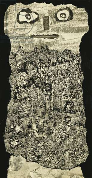 Beard of the Ruling Dynasties; Barbe des Dynasties Regnantes, 1959 (india ink collage on paper)