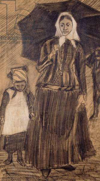 Sien under an Umbrella with a Girl, 1882 (pencil and white chalk on tan paper)
