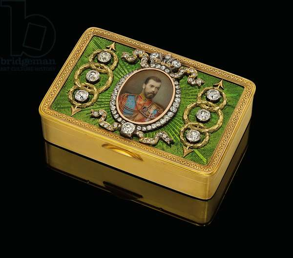 An Imperial presentation snuff-box, with a w/c on ivory miniature of Emperor Nicholas II, c. 1890 (gold and guilloche enamel, w/c on ivory)