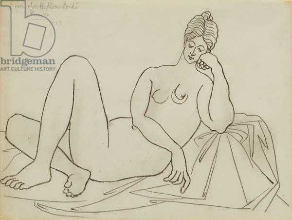 Reclining Nude leaning on her Elbow, 1919 (pencil on paper)