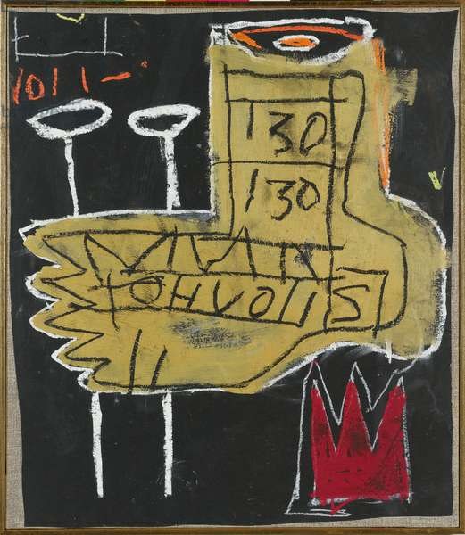 Untitled (foot), 1981 (acrylic, oilstick & gold enamel on paper laid onto canvas)