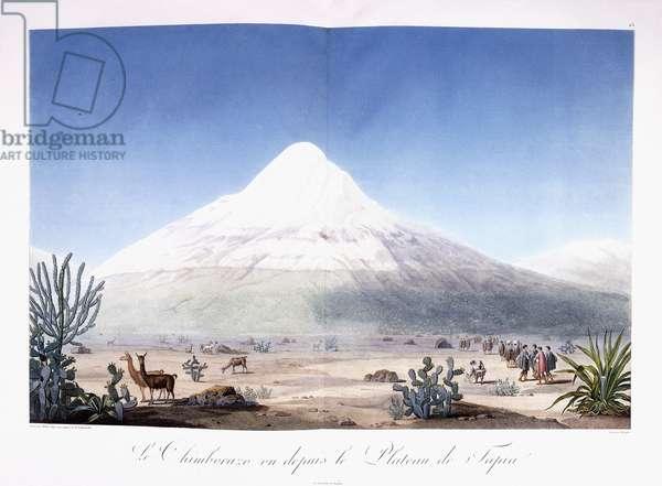 Le Chimborazo vu depuis le Plateau de Tapia, 1810-1814 (colour-printed aquatint)
