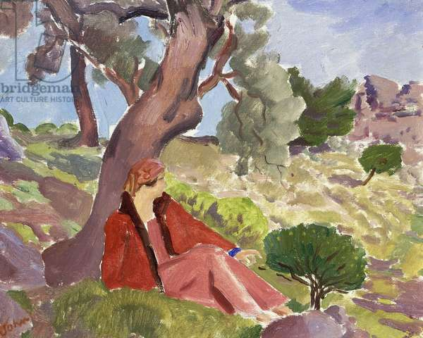 Girl seated beneath a Tree, (oil on canvas)