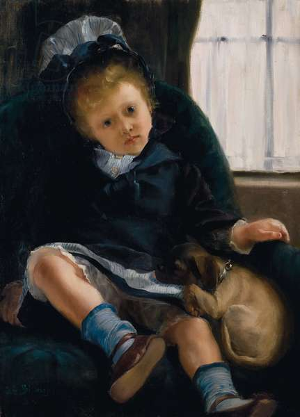 Girl with Puppy, c.1882-1883 (oil on canvas)