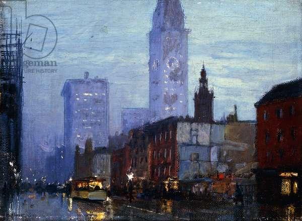Rainy Night in New York,  (oil on canvas)