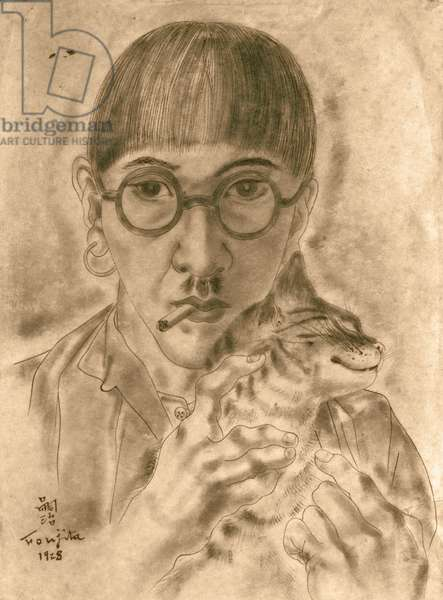 Self Portrait with Cat, 1928 (pen, ink & wash on paper)