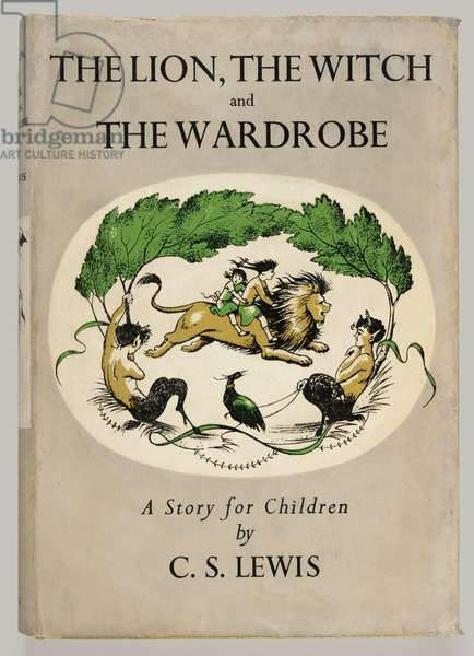Front cover of 'The Lion, The Witch and the Wardrobe' by C. S. Lewis, 1950 (colour litho)