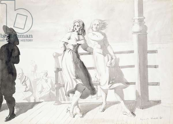 On the Boardwalk,  (wash and raphite on paper)