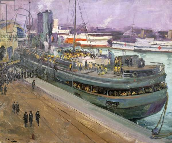 Naval Ratings Embarking, Southampton,  (oil on canvas)