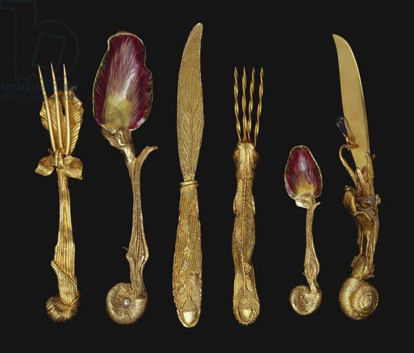 Six-piece set of cutlery (silver-gilt)
