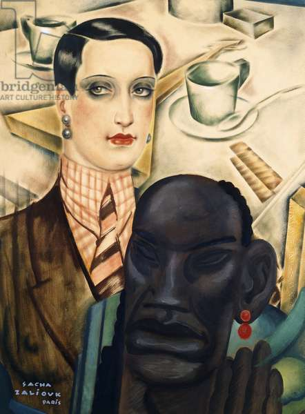 Garconne with negro head,  (gouache on paper)