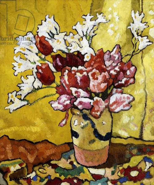 Vase, Tulips and White Flowers, 1938 (oil on canvas)