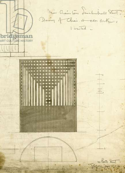 Design for the Order Desk Chair, shown in elevation and plan, 1904 (pencil, watercolour)