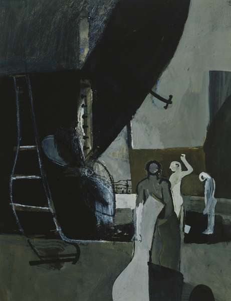 Boys by the Hull of a Ship, 1954 (gouache, brush, black ink and black and white crayon)