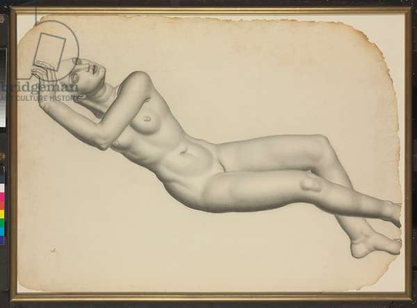 Study for Female Nude, c.1930 (charcoal on paper, with gold painted wood frame)