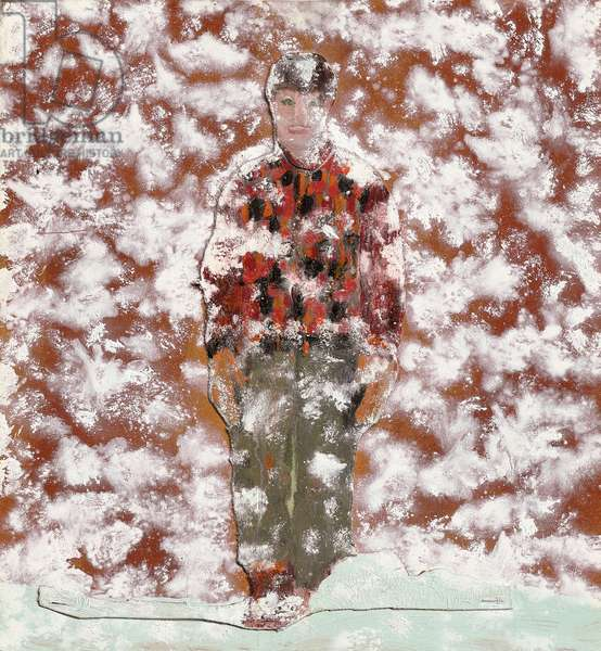 Figure in Snow, 1997 (oil and wood collage on board)