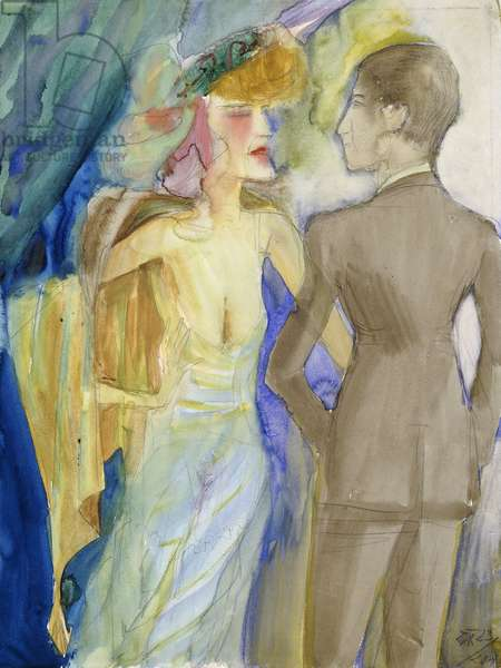 Elegant Pair; Elegantes Paar, 1923 (watercolour over pencil on paper)
