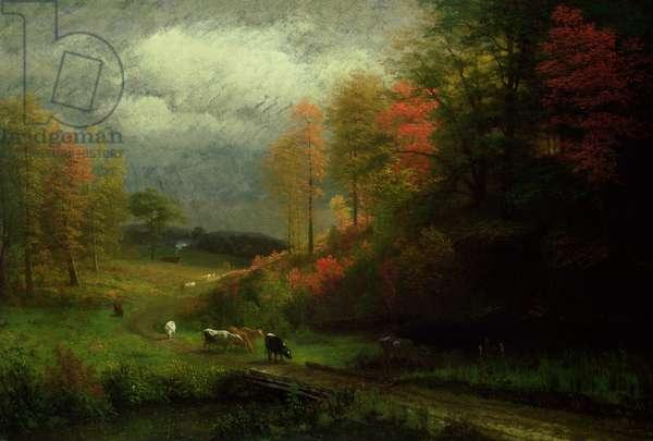 Rainy Day in Autumn, Massachusetts, 1857 (oil on canvas laid on panel)