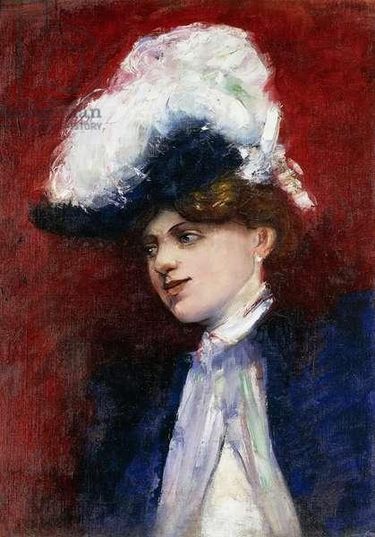 Elegant Woman with Feather Hat; Elegante Dame mit Federhut, c.1905 (oil on canvas)