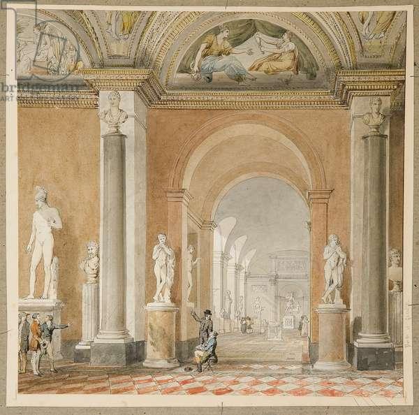 L'ancienne salle de l'Apollon du Belvédère au Louvre (black chalk & w/c on paper)