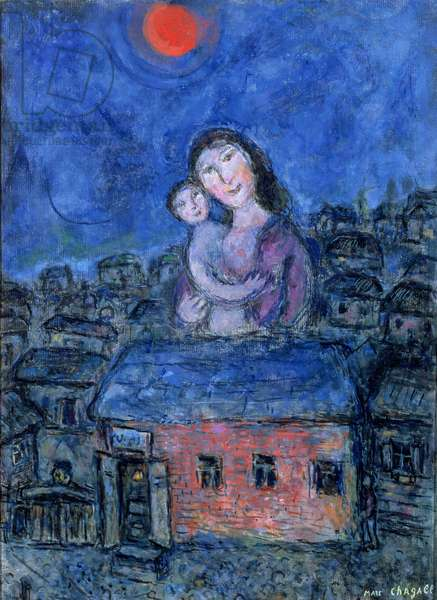 Woman and child above village, 1973 (oil on canvas)