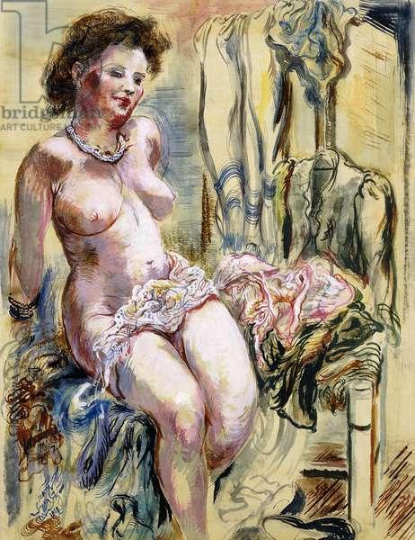 Seated Female Nude; Sitzender Weiblicher Akt, 1948 (gouache, brush and ink on paper)