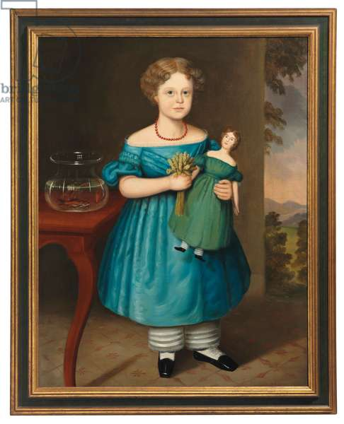 Portrait of Amy Philpot in a Blue Dress with Doll and Goldfish (oil on canvas)